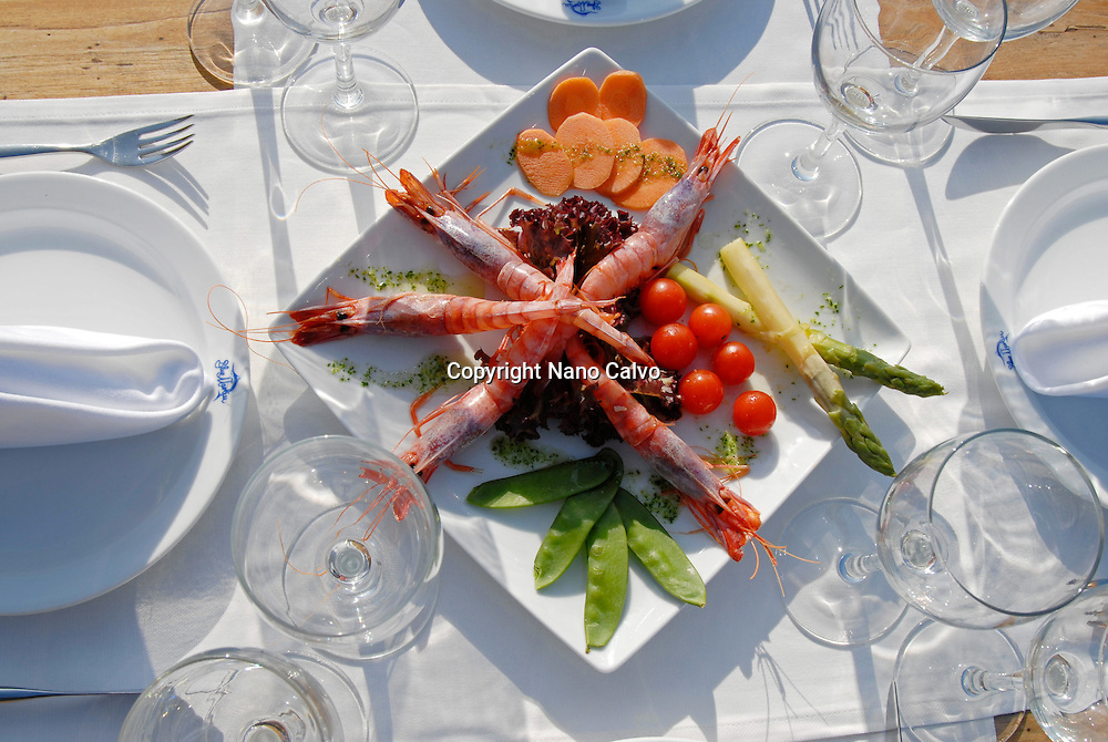 Salad made with shrimps and vegetables