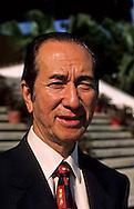 the tycoon Dr. Stanley Ho (STDM) in front of one of his Casino;  - casino Lisboa - .Macau /// Stanley HO , le tycoon qui detient entre autre le monopole des jeux a Macao. /// DEVANT UN DE SES CASINO A L4HOTEL LISBOA/// R00228/1    L3109  /  R00228  /  P0006546