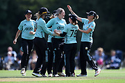 Dane van Niekerk of Surrey Stars celebrates taking a hat-trick against Southern Vipers during the Women's Cricket Super League match between Southern Vipers and Surrey Stars at Arundel Castle, Arundel, United Kingdom on 18 August 2019.n