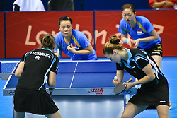 Natalia Partyka of Poland serves against Singapore in Table Tennis.