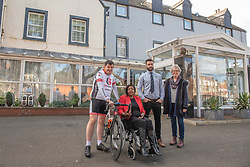 A Charity Bike Ride is linking the two Portobellos in Edinburgh and London this weekend. A former Edinburgh Portobello resident Gordon Barclay will set off tomorrow (Sunday 24th) to cycle to London. The ride will raise funds for Clarrie Mendy, who tragically lost 2 relatives in the Grenfell Tower Disaster and has now been diagnosed with Motor Neurone Disease, and for Doddie Weir's MY NAME5 DODDIE foundation. Pictured: Gordon Barclay, Clarrie Mendy, Eddie Robb (President of Portobello Rugby Club), Maureen Child, (Portobello, Edinburgh councillor)<br /> <br /> <br /> © Jon Davey/ EEm