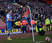 John Rooney prepares a corner during the The FA Cup match between Barnsley and Chester City at Oakwell, Barnsley, England on 7 December 2014.
