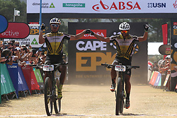 Henrique Avancini and Manuel Fumic of Cannondale Factory Racing XC celebrate winning stage 1 during stage 1 of the 2017 Absa Cape Epic Mountain Bike stage race held from Hermanus High School in Hermanus, South Africa on the 20th March 2017<br /> <br /> Photo by Shaun Roy/Cape Epic/SPORTZPICS<br /> <br /> PLEASE ENSURE THE APPROPRIATE CREDIT IS GIVEN TO THE PHOTOGRAPHER AND SPORTZPICS ALONG WITH THE ABSA CAPE EPIC<br /> <br /> ace2016