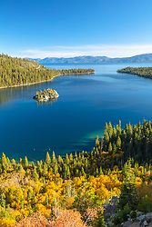 """Emerald Bay in Autumn 6"" - Photograph of yellow fall foliage above Emerald Bay, Lake Tahoe."