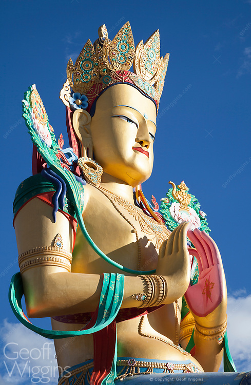 35 meter high statue of Maitreya Buddha overlooking the Nubra valley at Diskit Monastery, Ladakh, India