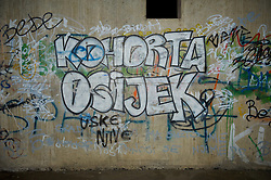OSIJEK, CROATIA - Tuesday, October 16, 2012: Graffiti at the Stadion Gradski Vrt before the Brazil 2014 FIFA World Cup Qualifying Group A match between Croatia and Wales. (Pic by David Rawcliffe/Propaganda)