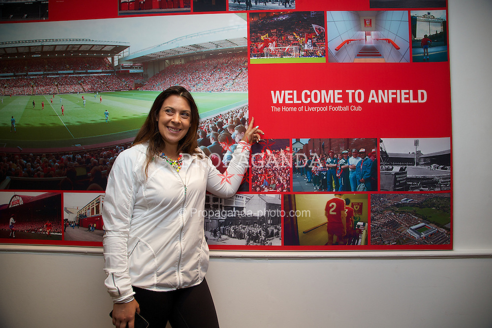 LIVERPOOL, ENGLAND - Saturday, June 21, 2014: Wimbledon champion Marion Bartoli (FRA) visits Anfield during Day Three of the Liverpool Hope University International Tennis Tournament. (Pic by David Rawcliffe/Propaganda)