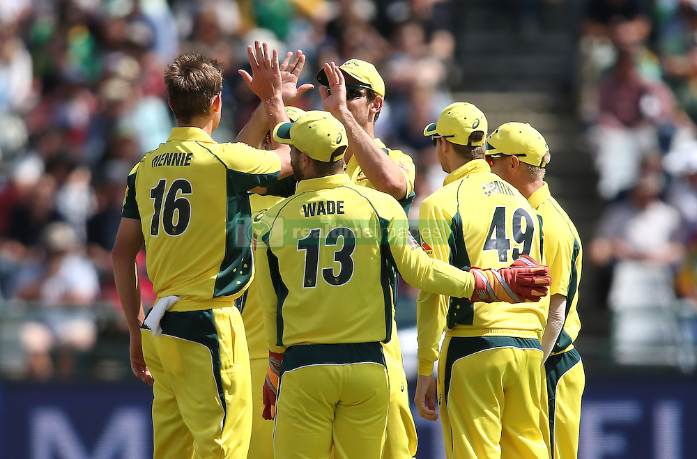 Joe Mennie of Austrailia is congratulated for bowling South African captain Faf du Plessis during the 5th ODI match between South Africa and Australia held at Newlands Stadium in Cape Town, South Africa on the 12th October  2016<br /> <br /> Photo by: Shaun Roy/ RealTime Images
