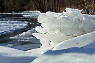 Montgomery, New York - Blocks of ice are piled up on the shore of  the Wallkill River on Jan. 24, 2014.