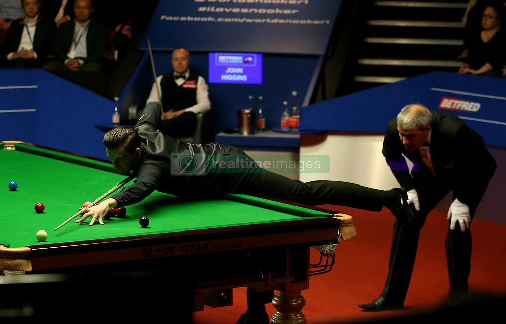 Mark Selby is watched over by referee Jan Verhaas on day seventeen of the Betfred Snooker World Championships at the Crucible Theatre, Sheffield. PRESS ASSOCIATION Photo. Picture date: Monday May 1, 2017. See PA story SNOOKER World. Photo credit should read: Steven Paston/PA Wire