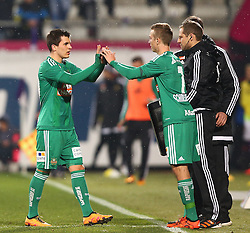 14.02.2016, Generali Arena, Wien, AUT, 1. FBL, FK Austria Wien vs SK Rapid Wien, 22. Runde, im Bild Thomas Murg (SK Rapid Wien) und Philipp Schobesberger (SK Rapid Wien) // during Austrian Football Bundesliga Match, 22nd Round, between FK Austria Vienna and SK Rapid Vienna at the Generali Arena, Vienna, Austria on 2016/02/14. EXPA Pictures © 2016, PhotoCredit: EXPA/ Thomas Haumer