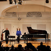 June 12, 2012 - New York, NY : Cellist Eric Bartlett, left, and pianist Margaret Kampmeier take a bow after performing Paul Suits's 'Fantasy' (1984, rev. 2011) during the Institute & Festival for Contemporary Performance 2012 at the Mannes Concert Hall in Manhattan on Tuesday night. CREDIT: Karsten Moran for The New York Times