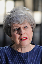 © Licensed to London News Pictures. 18/04/2017. London, UK. Theresa May, Prime Minister, gives a speech in Downing Street to announce that a General Election will be called on 8 June 2017. Photo credit : Stephen Chung/LNP