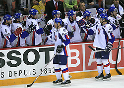 Juraj Kolnik of Slovakia and Robert Petrovicky of Slovakia celebrate at ice-hockey game Slovenia vs Slovakia at second game in  Relegation  Round (group G) of IIHF WC 2008 in Halifax, on May 10, 2008 in Metro Center, Halifax, Nova Scotia, Canada. Slovakia won after penalty shots 4:3.  (Photo by Vid Ponikvar / Sportal Images)