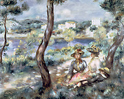 Young Women and a Boy in a Landscape' 1893: Pierre August Renoir 1841-1919) French artist. Oil on canvas.