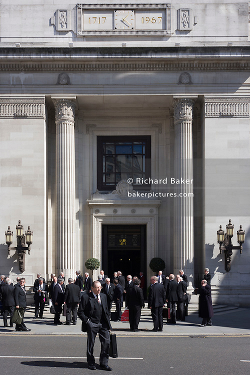 Members of Freemasonry gather outside London's United Grand Lodge at Freemason's Hall, 60 Great Queen Street. http://www.ugle.org.uk/