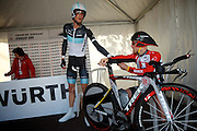 Tour de Suisse Stage 9 - Frank Schleck and Levi Leipheimer share a last-minute fist bump/handshake.  Classy sportsmanship in the in the seconds before stage 9's TT.