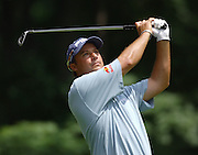 Jun 26, 2006; Gaylord MI; Chris DiMarco watches his tee shot on the 6th hole during the ING Par-3 Shootout at Treetops Resort in Gaylord Michigan.