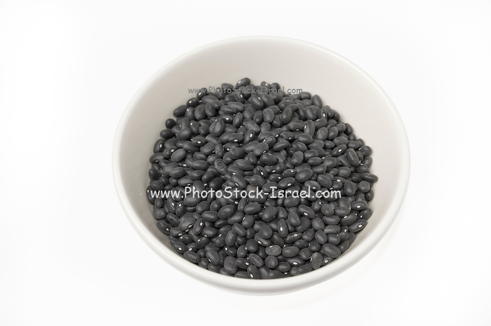 Black turtle beans on white background