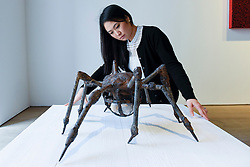 "© Licensed to London News Pictures. 17/02/2017. London, UK.   A staff member views ""Spider"" by Louise Bourgeois, at a preview of ""Traumata: Bourgeois/Kusama"".  The joint exhibition is dedicated to the work of Louise Bourgeois and Yayoi Kusama, and takes place at Sotheby's S/2 Gallery 23 February to 13 April. Photo credit : Stephen Chung/LNP"