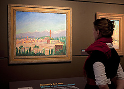 © Licensed to London News Pictures. 19/01/2012. London, U.K..Preview of exhibition Meetings in Marrakech: the paintings of Hassan El Glaoui and Winston Churchill. The exhibition runs between 20 January – 31 March. IT is the first time the paintings of Winston Churchill have been exhibited with another artist Leighton House Museum. Painting by Winston Churchill, titled 'View of Marrakech' 1935..Photo credit : Rich Bowen/LNP