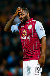 Darren Bent of Aston Villa scratches his head as his side struggle to get shots on target - Photo mandatory by-line: Rogan Thomson/JMP - 07966 386802 - 27/08/2014 - SPORT - FOOTBALL - Villa Park, Birmingham - Aston Villa v Leyton Orient - Capital One Cup Round 2.