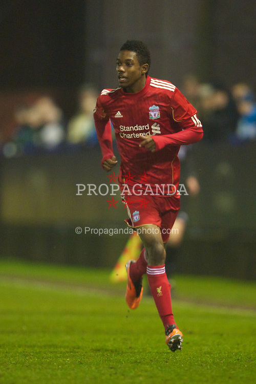 MANCHESTER, ENGLAND - Wednesday, January 19, 2011: Liverpool's Jason Banton makes his debut during the Lancashire Senior Cup Quarter-Final match against Manchester City at Ewen Fields. (Photo by David Rawcliffe/Propaganda)
