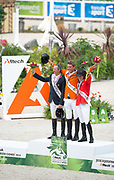 Podium Individual Jumping 1. Jeroen Dubbeldam - Zenith SFN, 2. Patrice Delaveau - Orient Express HDC, 3. Beezie Madden - Cortes C<br /> Alltech FEI World Equestrian Games™ 2014 - Normandy, France.<br /> © DigiShots - Jon Stroud