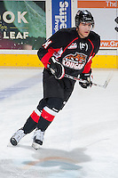 KELOWNA, CANADA -FEBRUARY 25: Todd Fiddler #14 of the Prince George Cougars warms up against the Kelowna Rockets on February 25, 2014 at Prospera Place in Kelowna, British Columbia, Canada.   (Photo by Marissa Baecker/Getty Images)  *** Local Caption *** Todd Fiddler;