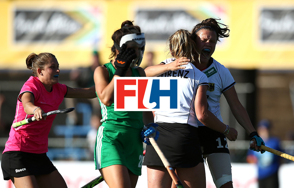 JOHANNESBURG, SOUTH AFRICA - JULY 10:  German players celebrate equalising in the final minute during day 2 of the FIH Hockey World League Women's Semi Final Pool A match between Germany and Ireland at Wits University on July 10, 2017 in Johannesburg, South Africa.  (Photo by Jan Kruger/Getty Images for FIH)