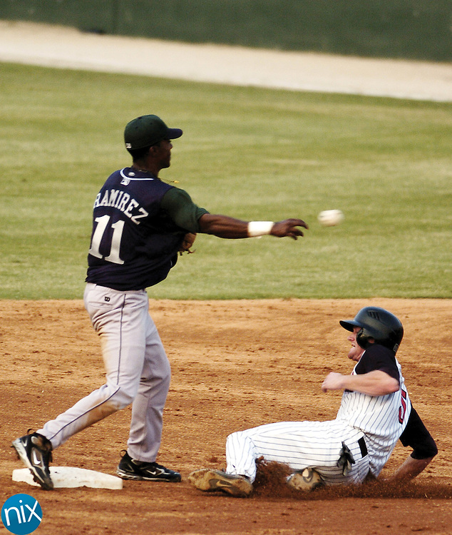 Kannapolis' Dale Mollenhauer tries to break up a double-play attmept by Lexington's Rondal Ramirez Friday night.