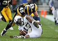 08 NOVEMBER 2008: Penn State quarterback Daryll Clark (17) is hit by Iowa linebacker A.J. Edds (49) in the first half of an NCAA college football game against Penn State, at Kinnick Stadium in Iowa City, Iowa on Saturday Nov. 8, 2008. Iowa beat Penn State 24-23.