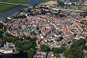 Nederland, Gelderland, Zutphen, 06-09-2010; overzicht van de binnenstad .met Sint Walburgiskerk en Librije, linksonder gevangenis en rechtbank, boven in beeld het station..Overview of the town with St. Walburga Church and Librije (medieval library).luchtfoto (toeslag), aerial photo (additional fee required).foto/photo Siebe Swart