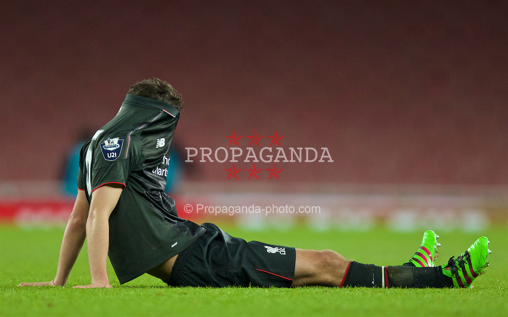 LONDON, ENGLAND - Friday, March 4, 2016: Liverpool's Adam Phillips looks dejected as his side lose to Arsenal during the FA Youth Cup 6th Round match at the Emirates Stadium. (Pic by Paul Marriott/Propaganda)