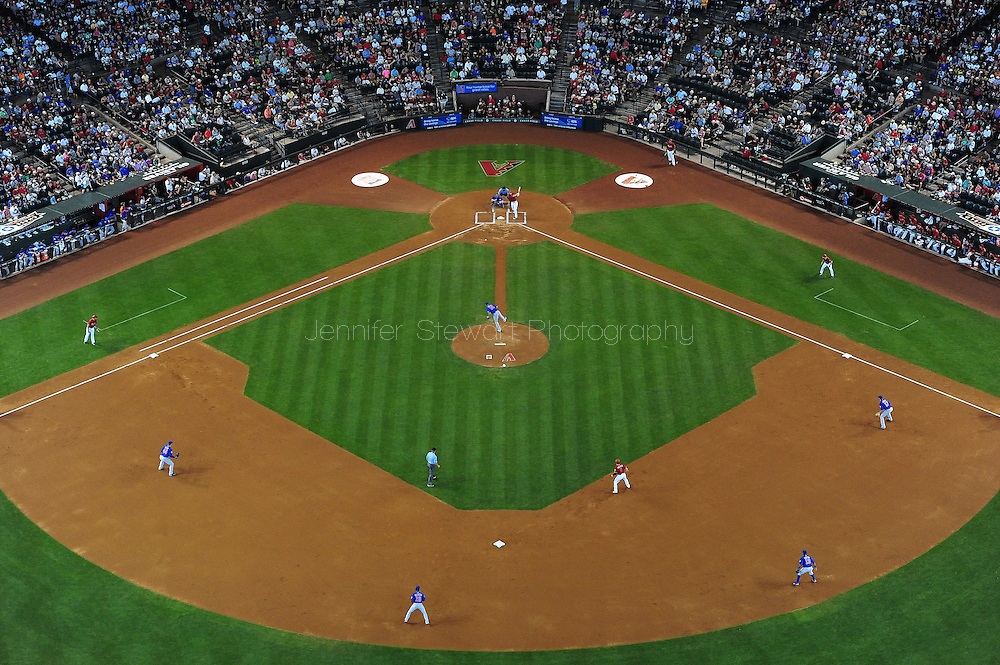 PHOENIX, AZ - May 24: D-backs infielder Paul Goldschmidt hits an RBI single in the first inning agains the Cubs. (Photo by Jennifer Stewart/Arizona Diamondbacks)