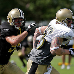 10 August 2009: New Orleans Saints tight end Jeremy Shockey (88) runs a route against linebacker Scott Fujita (55) during New Orleans Saints training camp at the team's practice facility in Metairie, Louisiana.