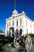 Morning light on cannon in front of the Mono County courthouse, Bridgeport, California