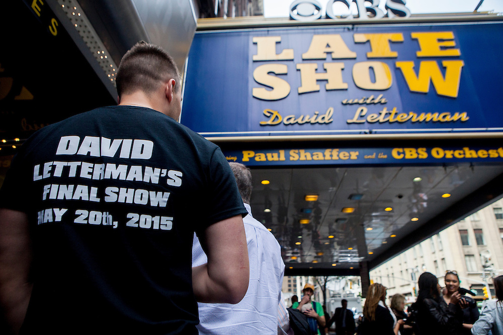 NEW YORK, NY - MAY 20, 2015: Hranislav Ruzic of Columbus, Ohio, waits in line for the final taping of the Late Show with David Letterman outside the Ed Sullivan Theater. CREDIT: Sam Hodgson for The New York Times