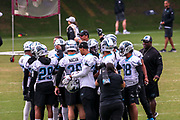 Carolina Panthers offensive players gather as they begin practicing  during minicamp at Bank of America Stadium, Thursday, June 13, 2019, in Charlotte, NC. (Brian Villanueva/Image of Sport)
