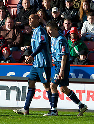 SHEFFIELD, ENGLAND - Saturday, March 1, 2008: Charlton Athletic's Chris Iwelumo celebrates scoring the opening goal against Sheffield United with team-mate Darren Ambrose during the League Championship match at Bramall Lane. (Photo by David Rawcliffe/Propaganda)2c