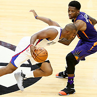 31 October 2016: Los Angeles Clippers guard Chris Paul (3) drives past Phoenix Suns guard Eric Bledsoe (2) during the Los Angeles Clippers 116-98 victory over the Phoenix Suns, at the Staples Center, Los Angeles, California, USA.