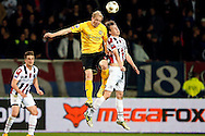 Onderwerp/Subject: Eredivisie<br /> Reklame:  <br /> Club/Team/Country: <br /> Seizoen/Season: 2012/2013<br /> FOTO/PHOTO: Simon VAN ZEELST (R) of Willem II in duel with Frank DEMOUGE (L) of Roda JC. (Photo by PICS UNITED)<br /> <br /> Trefwoorden/Keywords: <br /> #04 $94 ±1355242121502<br /> Photo- & Copyrights © PICS UNITED <br /> P.O. Box 7164 - 5605 BE  EINDHOVEN (THE NETHERLANDS) <br /> Phone +31 (0)40 296 28 00 <br /> Fax +31 (0) 40 248 47 43 <br /> http://www.pics-united.com <br /> e-mail : sales@pics-united.com (If you would like to raise any issues regarding any aspects of products / service of PICS UNITED) or <br /> e-mail : sales@pics-united.com   <br /> <br /> ATTENTIE: <br /> Publicatie ook bij aanbieding door derden is slechts toegestaan na verkregen toestemming van Pics United. <br /> VOLLEDIGE NAAMSVERMELDING IS VERPLICHT! (© PICS UNITED/Naam Fotograaf, zie veld 4 van de bestandsinfo 'credits') <br /> ATTENTION:  <br /> © Pics United. Reproduction/publication of this photo by any parties is only permitted after authorisation is sought and obtained from  PICS UNITED- THE NETHERLANDS