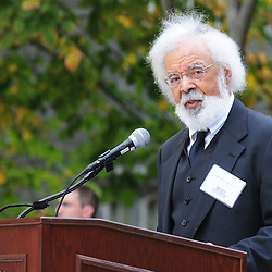 Photos by Tom Kelly IV<br /> Fred Morsell, reading as Frederick Douglass during the dedication of the Frederick Douglass statue at West Chester University, Tuesday afternoon October 1, 2013.