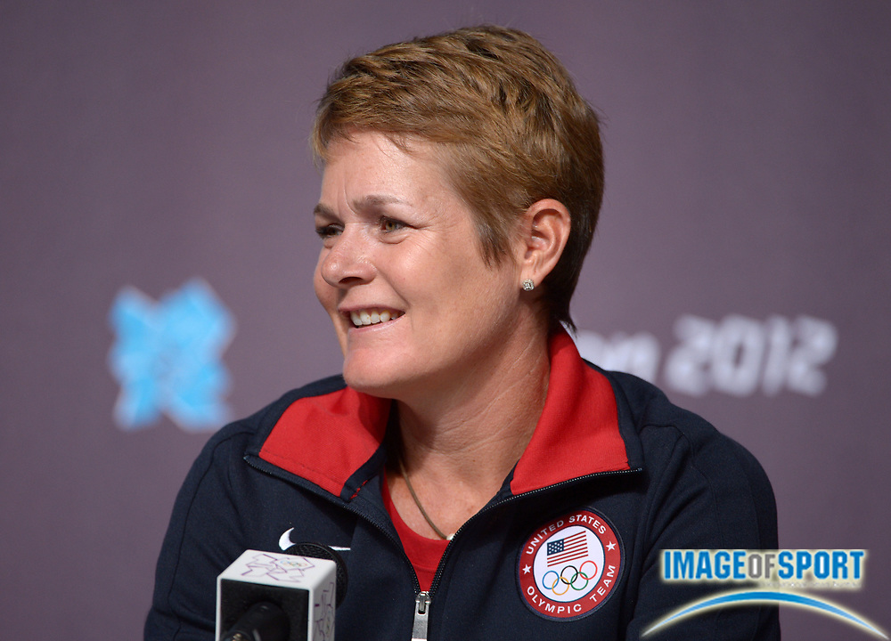 Jul 31, 2012; London, USA; United States womens coach Amy Deem during press conference for the London 2012 Olympic Games at Main Press Centre.