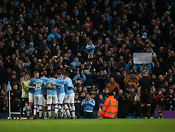 Sergio Aguero of Manchester City (Hidden) celebrates after scoring his sides second goal - Mandatory by-line: Jack Phillips/JMP - 18/01/2020 - FOOTBALL - Etihad Stadium - Manchester, England - Manchester City v Crystal Palace - English Premier League