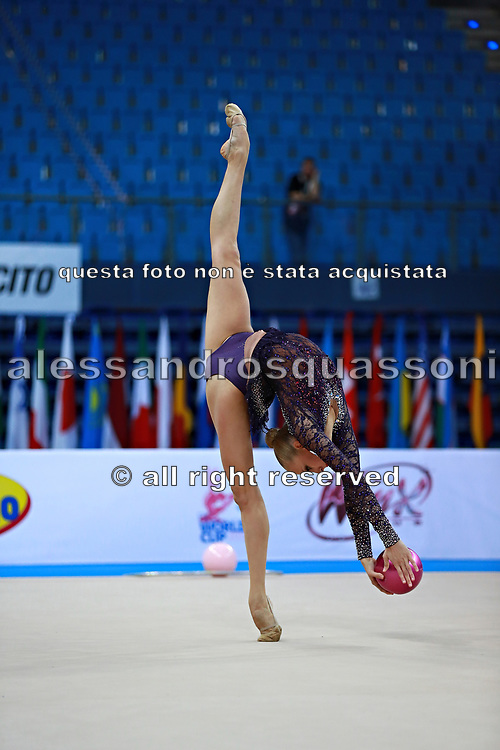 """Kudryavtseva Yana of Russia  during qualifying at ball in Pesaro World Cup at Adriatic Arena on  April 10, 2015, Italy. Yana """"The Queen"""" is a Russian gymnast born in Moscow on 30 September 1997. Until her retirement in 2017 was one of atllete most awarded in the history of rhythmic gymnastics."""