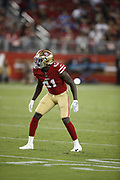 San Francisco 49ers defensive back Emmanuel Moseley (41) in action during the 2018 NFL preseason week 4 football game against the Los Angeles Chargers on Thursday, Aug. 30, 2018 in Santa Clara, Calif. The Chargers won the game 23-21. (©Paul Anthony Spinelli)