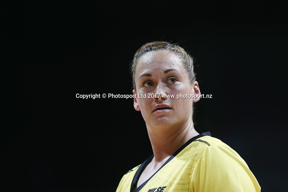 Catherine Tuivaiti of the Pulse looks on. 2017 ANZ Premiership netball match, Central Pulse v Northern Mystics at Claudelands Arena, Hamilton, New Zealand. 26 March 2017 © Copyright Photo: Anthony Au-Yeung / www.photosport.nz