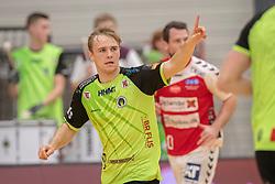 Frederik Iversen (Nordsjælland) jubler efter en scoring under kampen i Herrehåndbold Ligaen mellem Nordsjælland Håndbold og Aalborg Håndbold den 27. november 2019 i Helsinge Hallen (Foto: Claus Birch).