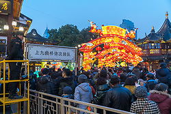 February 5, 2018 - Shanghai, Shanghai, China - Shanghai,CHINA-5th February 2018: The lantern fair of Dog Year is held at Yu Garden in Shanghai, celebrating the upcoming Spring Festival. (Credit Image: © SIPA Asia via ZUMA Wire)
